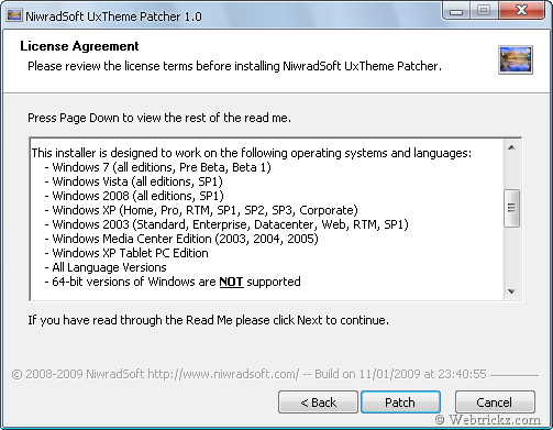 UxTheme Patcher for Windows XP/2003/MCE/Vista/7