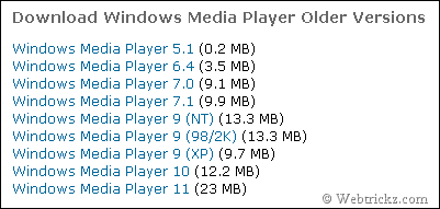 Windows Media Player Older Versions