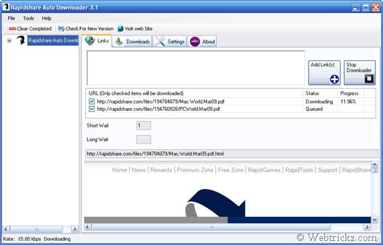 Rapidshare Auto Downloader 3.1