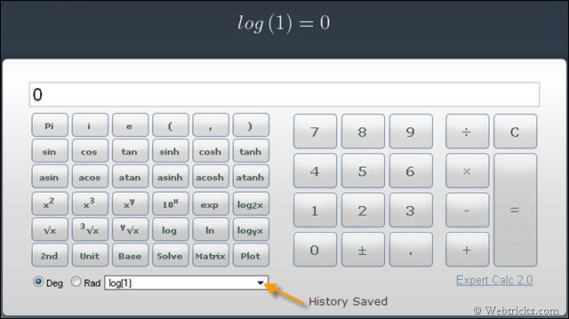 eCalc & web2 0 calc – Free Online Scientific Calculator