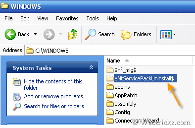 Remove Windows XP SP3 Backup files
