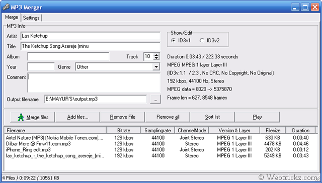 Download MP3 Merger Free to join MP3 files together