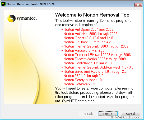 Norton Removal Tool 2009