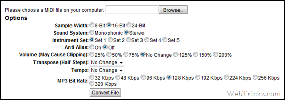 Online MIDI to MP3/WAV Converter