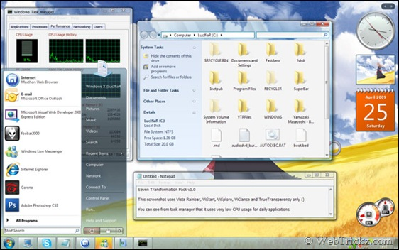 Windows 7 transformation pack for Windows XP