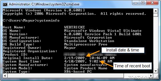 know windows installation date and time of boot
