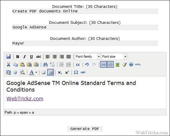 Online PDF file creator