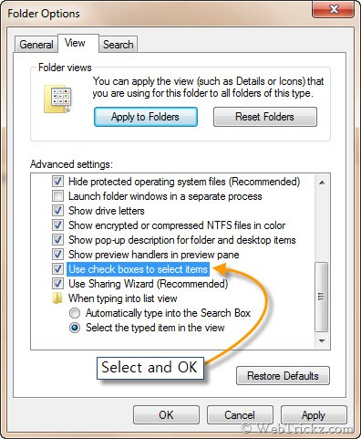 enable check boxes in Windows 7 & Vista