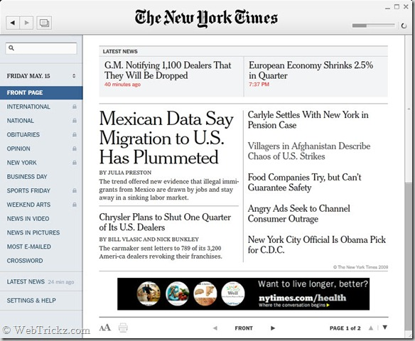 Desktop application to read New York Times news