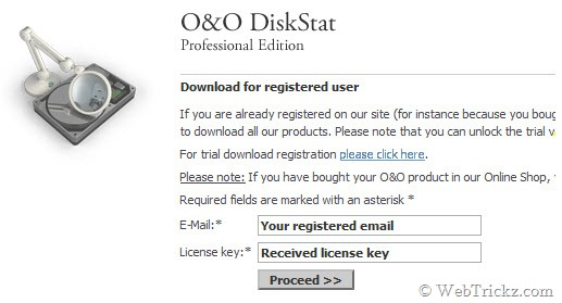 Enter your registered email and received license key