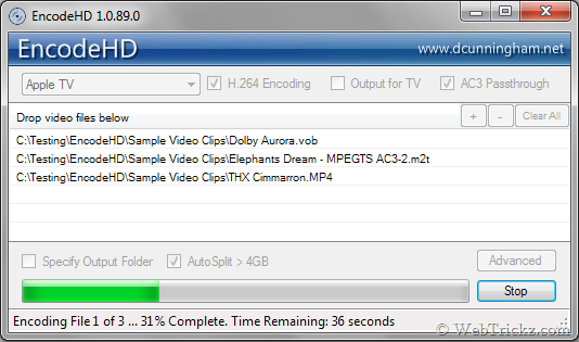 EncodeHD - Convert video files to MP4