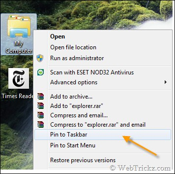 My Computer pinned to Windows 7 taskbar