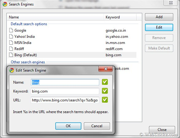 Bing as default search provider in Google Chrome