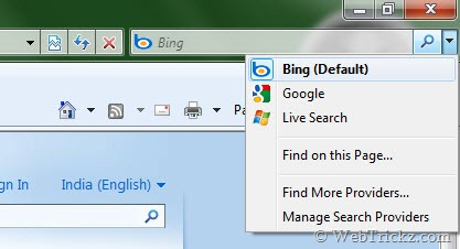 Bing as default search provider in Internet Explorer