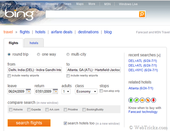 Book air tickets and hotels using Bing Travel