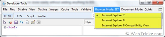 change IE8 browsing mode to IE7