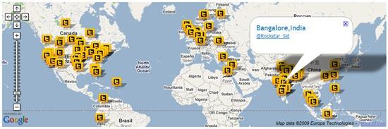 twitter followers pinned on world map