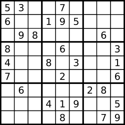 Unsolved Sudoku puzzle