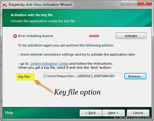 key file option in kaspersky 2010