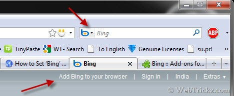 add bing search to firefox