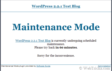 Maintenance mode plugin for wordpress