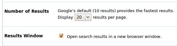 google preferences page