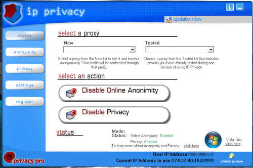 IP Privacy main window