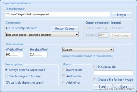 Picture2avi Settings