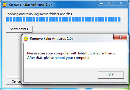 Remove Fake Antivirus scan