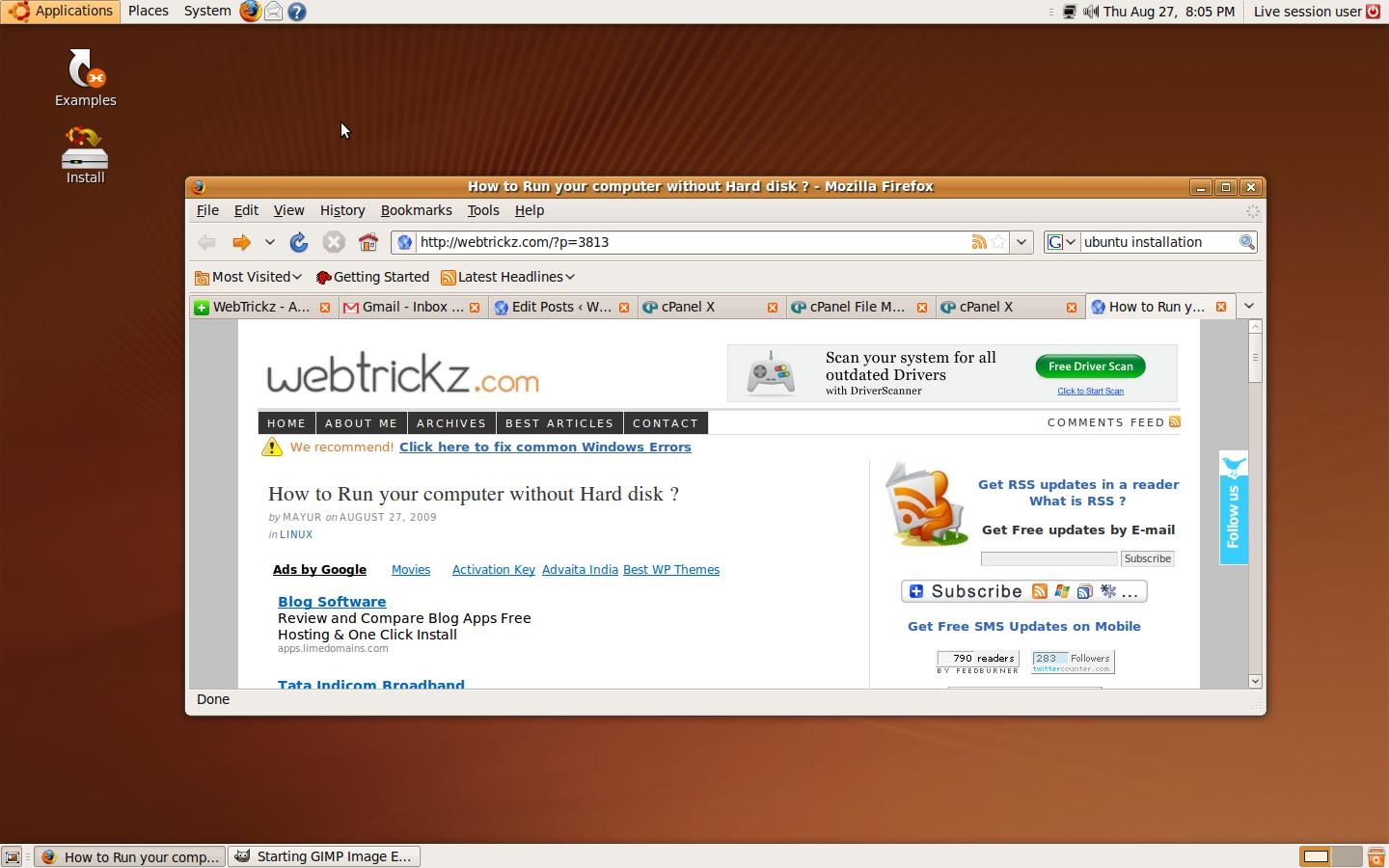 Main Ubuntu home window
