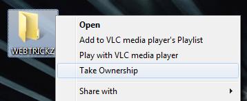 Take Ownership in context menu