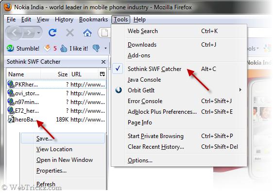 Saving Flash files in Firefox