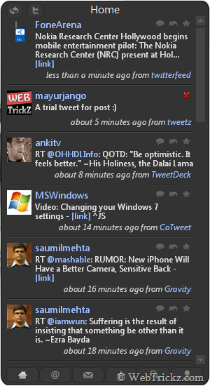 TweetZ - twitter sidebar gadget for Windows 7/Vista