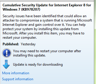Critical IE Update