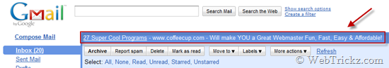 Web clips in gmail