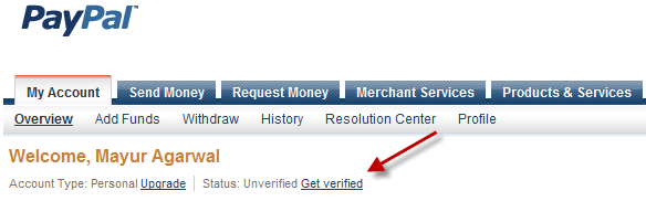 Get verified link in Paypal