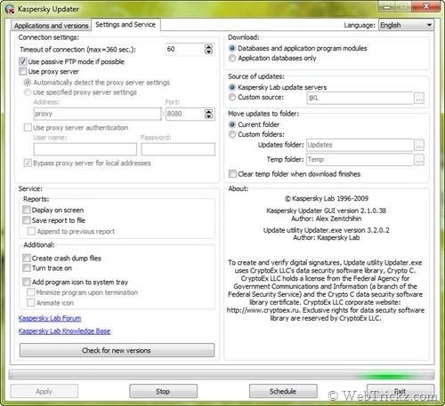 Kaspersky Updater Settings