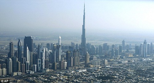 Burj Dubai surrounded by other skyscrapers