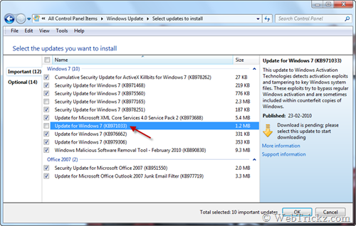 KB971033 Windows 7 WAT update