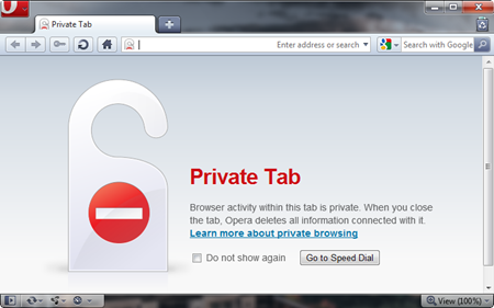 Opera Private browsing mode