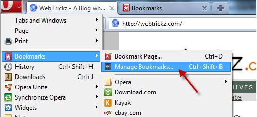 manage bookmarks in opera