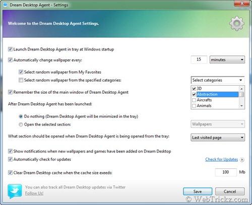 Dream Desktop Agent settings