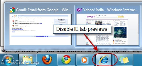 Disable IE tab preview in taskbar