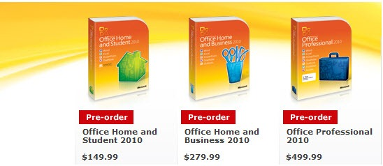 Pre-order Office 2010