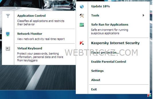KIS 2011 taskbar menu