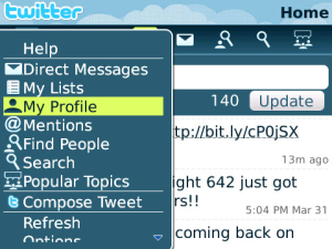 BlackBerry twitter app