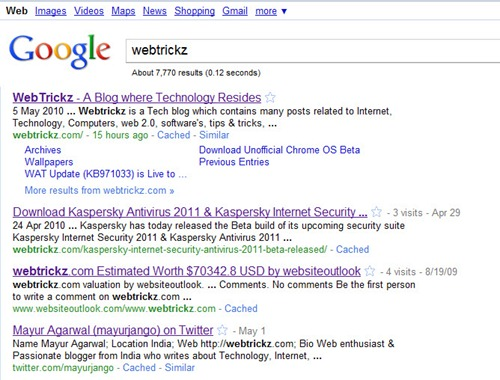 Google search results without Sidebar