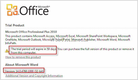 Office Professional Plus 2010 - 60 days free trial