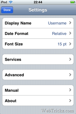twitter app for iPhone - settings