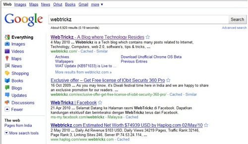 Google search results with Sidebar